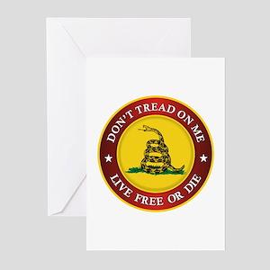 DTOM Gadsden Flag (logo) Greeting Cards