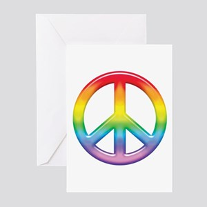 Gay Pride Rainbow Peace Symbol Greeting Cards (Pk