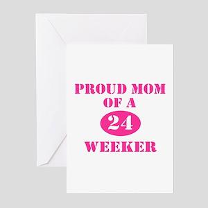 Proud Mom 24 Weeker Greeting Cards (Pk of 10)