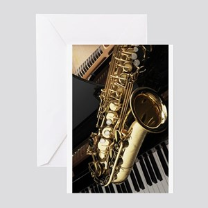 Saxophone And Piano Greeting Cards