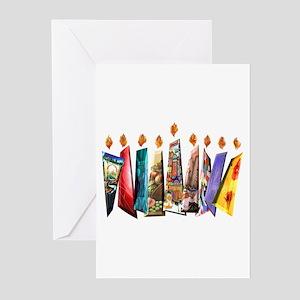 Fabric Chanukah Menorah Greeting Cards (Pk of 10)