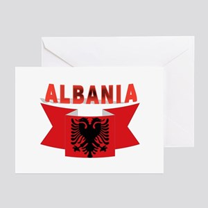 flag Albania Ribbon Greeting Cards (Pk of 10)