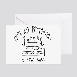 birthday blow me Greeting Cards (Pk of 10)