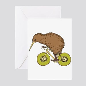 Kiwi Riding Bike With Kiwi Wheels Greeting Cards