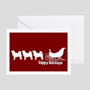 "Alaskan Malamute ""Sleigh"" Greeting Cards (Package"