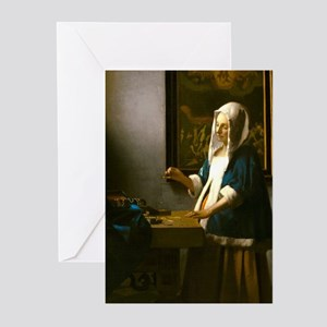 Woman Holding a Balance by Johannes Vermeer Greeti