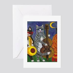 Jazz Cats at Night Greeting Cards (Pk of 10)