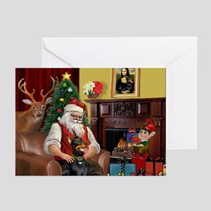 Santa's Dobie (Bz) Greeting Cards (Pk of 10)