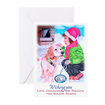 Girl Unchains Dog Holiday Greeting Cards Pk Of Girl Unchains