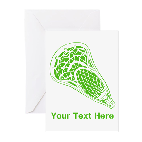 Lacrosse Crosse. Green Text. Greeting Cards (Pk of