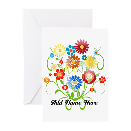 Personalized floral light Greeting Cards (Pk of 10