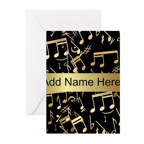 designer gold Musical notes Greeting Cards (Pk of