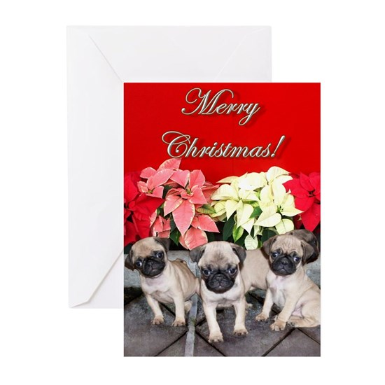 Merry Christmas Puppies.Merry Christmas Pug Puppies Greeting Cards Pk Of 10