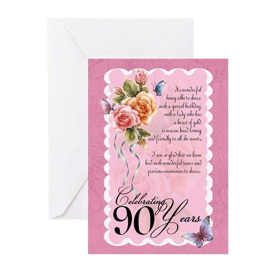 90th Birthday Greeting Card With Roses And Butterf