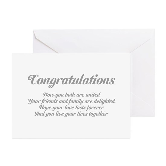 Wedding Congratulations Poem. Greeting Cards (Pk of 10