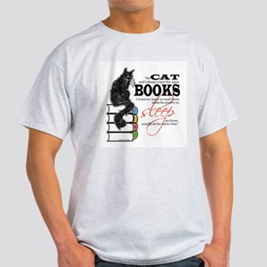 Cat and Books 2 Light T-Shirt