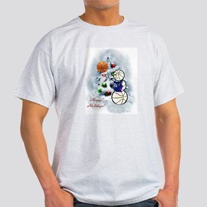Basketball Snowman xmas T-Shirt