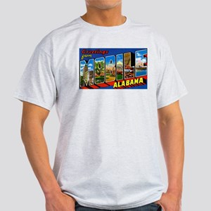 Mobile Alabama Greetings (Front) Ash Grey T-Shirt