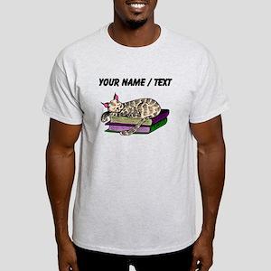 Custom Cat Sleeping On Books T-Shirt