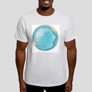 Pacific Ocean sea floor topography - Light T-Shirt