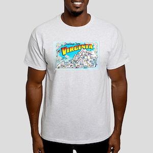 Virginia Map Greetings Light T-Shirt