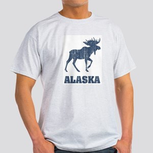 Retro Alaska Moose Ash Grey T-Shirt