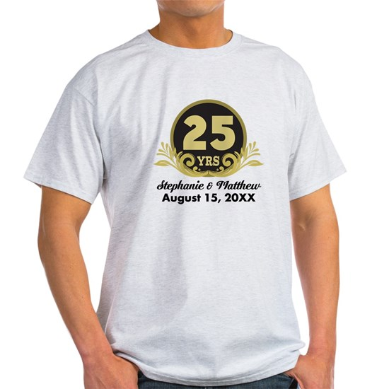 c389d03c1 25th Anniversary Personalized Gift Idea Light T-Shirt 25th ...