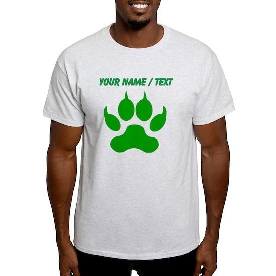 4640febf73ba Custom Green Wolf Paw Print Light T-Shirt Custom Green Wolf Paw ...