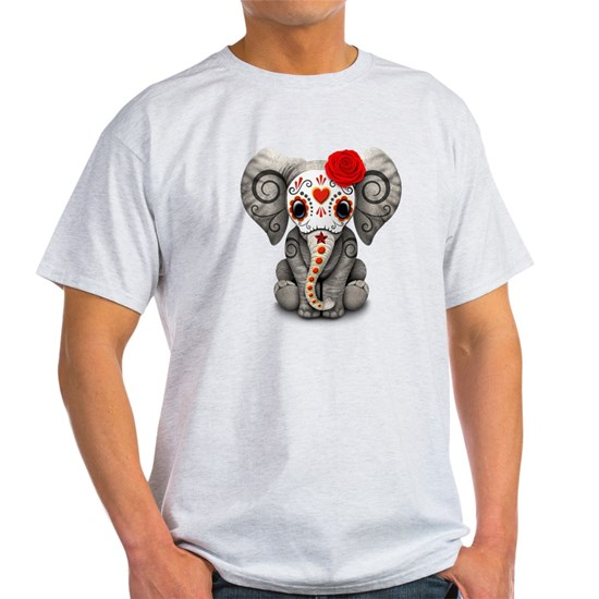 Red Day of the Dead Sugar Skull Baby Elephant