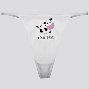 Personalizable Black and White Cow Classic Thong