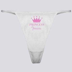 Personalized pink princess crown Classic Thong