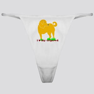 I Love My Tripawd Golden - Front Leg Classic Thong