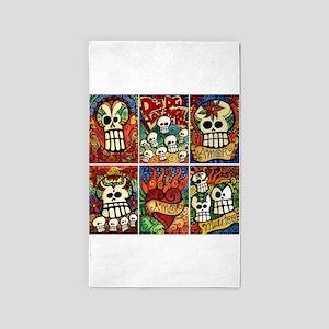 Day of the Dead Sugar Skulls 3'x5' Area Rug