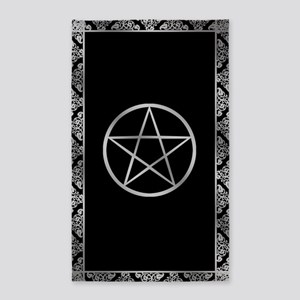 Silver Wiccan Pentacle 3'x5' Area Rug
