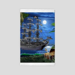 Mystical Moonlit Pirate Ship Area Rug