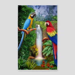 MACAW TROPICAL PARROTS 3'x5' Area Rug