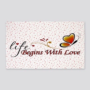 Life Begins with Love 3'x5' Area Rug
