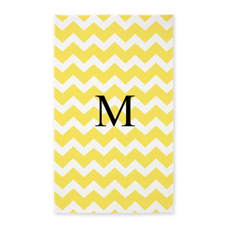 Yellow Chevron Monogram 3'x5' Area Rug
