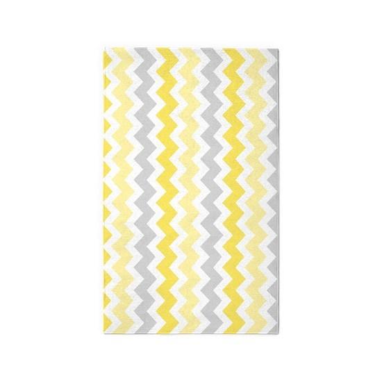 Yellow Grey White Chevron 3 X5 Area