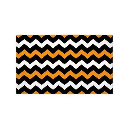 Black Orange And White Chevron 3 X5 Area Rug