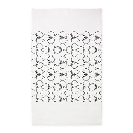Black And White Circles Rings 3 X5 Area Rug