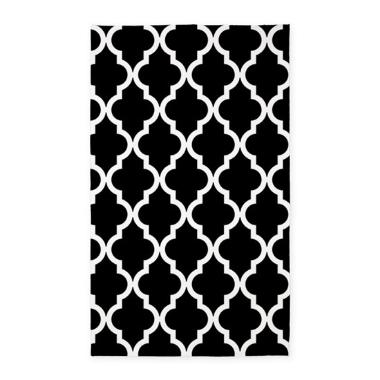 Black: Quatrefoil Moroccan Pattern Area Rug