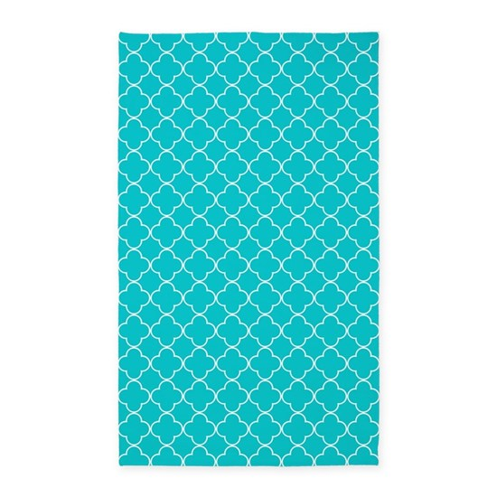 Teal White Quatrefoil 3'x5' Area Rug By DreamingMindCards