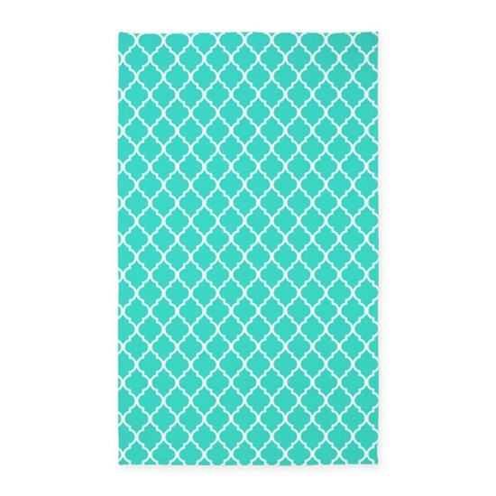 Turquoise Quatrefoil Pattern 3'x5' Area Rug By Popular