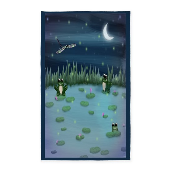 Frog Pond Rug: Frogs In Lily Pad Pond 3'x5' Area Rug By Rhyannon