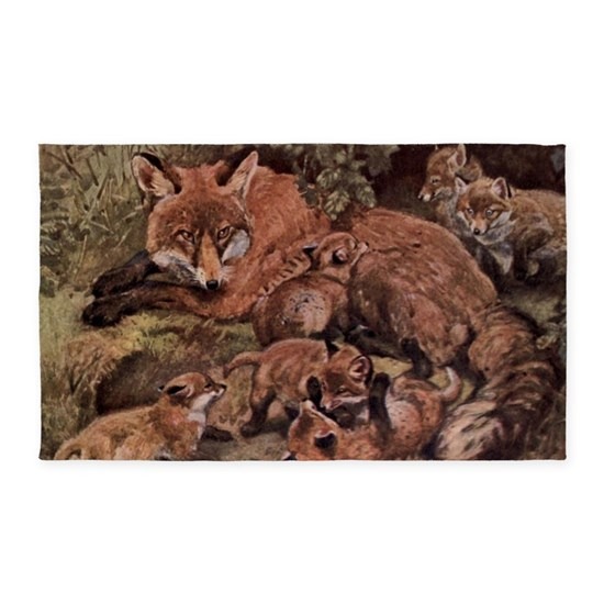 Vintage Fox and Cubs Painting (1909)