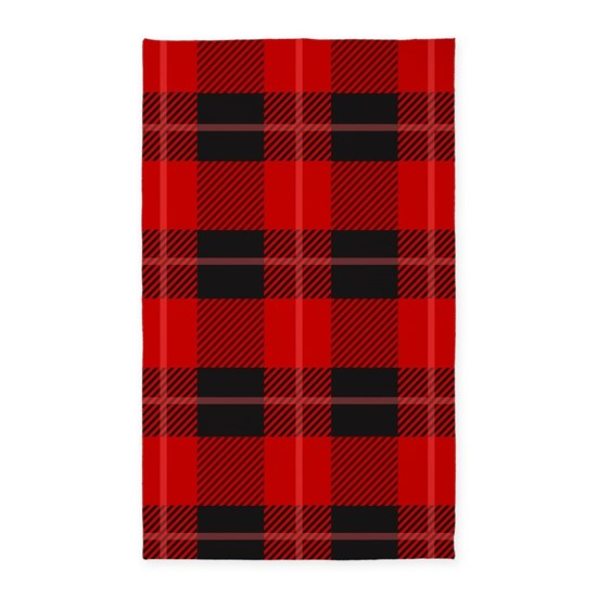 Red And Black Plaid Geometric Pattern Area Rug By