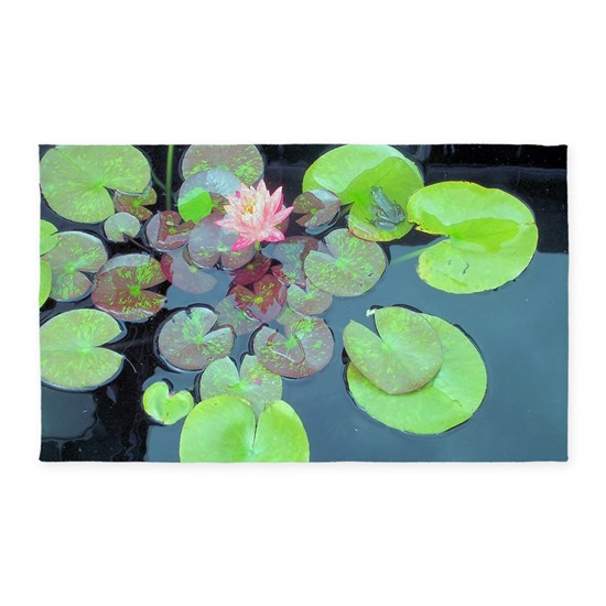 Frog Pond Rug: Lily Pads With Frog 3'x5' Area Rug By Thought-Provoking