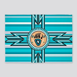 Turquoise Bear Paw - Native America 5'x7'Area Rug