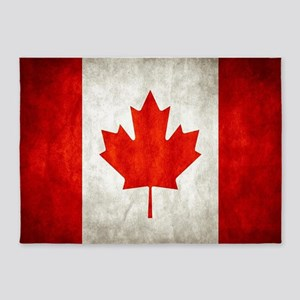 Vintage Canadian Flag 5'x7'Area Rug